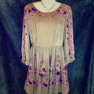 Free People Floral Pattern 3/4 Sleeve Dress, Med
